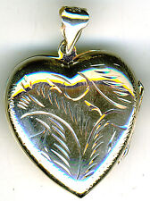 925 Sterling Silver Locket Large Engraved Heart Pendant  W.32 x 32mm  w/o bail