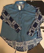 NWT Sugar Lips Womens Chambry Paisley Print Button Down Shirt High Low Hem Sz S