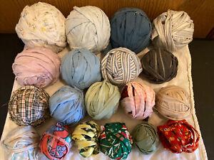 Lot Of 18 Primitive Vintage Fabric Strips Rag Balls, Multicolor Fabrics ~ Box 3