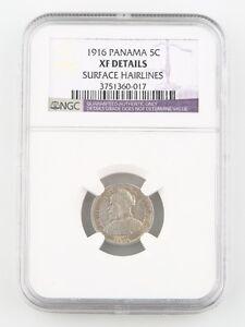 1916 Panama 5 Centesimos Silver Coin XF Details NGC Low Mintage 5c KM-2
