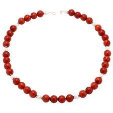Kette Collier, Koralle & Perlen, 925 Silber, rot weiß, Korallenkette Halskette