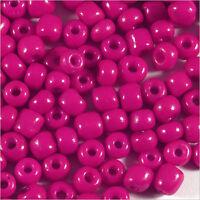 rocaille glass seed beads Opaque 4mm Fuchsia dark 20g (6/0)