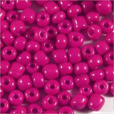 Perles de Rocailles en verre Opaque 4mm Fuchsia foncé 20g (6/0)