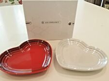 New in box Japan Ltd Ed Le Creuset small heart plate set of 2 -Pearl white & Red