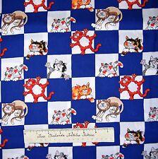 Alley Cat Fabric - Cats on Blue & White Checker - Benartex Kanvas Studio YARD