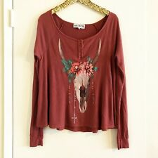 WILDFOX Desert Dahlia Thermal Effortless Long Sleeve Cozy Floral Shirt XS