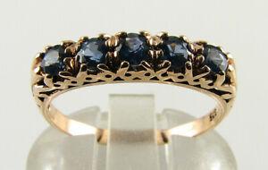 9K 9CT ROSE GOLD Sri Lankan Blue Sapphire ART DECO INS ETERNITY BAND RING