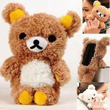 Stylish 3D Soft Teddy Bear Doll Plush Toy Back Cover Case Fr Apple Samsung Phone