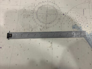 "Starrett 12"" Hook Ruler/Scale No. 604R. Satin Finish."