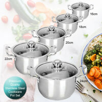 STAINLESS STEEL COOKWARE 5PC HOB STOCKPOT POT CASSEROLE SET WITH GLASS LIDS