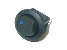 1x Wippschalter schwarz 12V 16A   2 Pin  ON/ OFF AN/ AUS LED Blau Snap-In 20mm