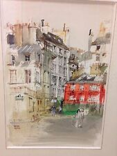 PAGES Pierre - Aquarelle rue de Paris original drawing *