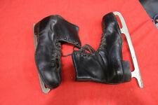 Vintage Mid Century Men's Ice Skates Black Boots (Size 11) on Blades