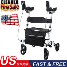 2020 OEM ELENKER Folding Upright Rollator Walker Medical Seat & Back 4 Wheel Red