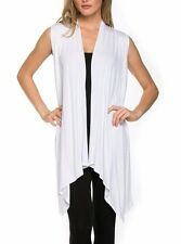 Women Open Vest Tunic Top Shawl Collar Draped Sleeveless Cardigan S M L XL USA