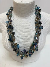 New Iridescent Blue Gray Freshwater Pearls Crystal Silver Women's Necklace