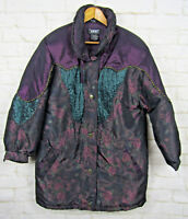 VTG IZZI Womens Ski Jacket Roses Floral Sz Small Purple Long Heavy Coat Puffer