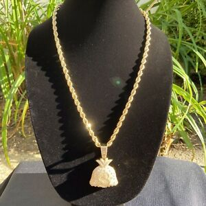 Gold Chain Rope Chain 24in 6mm and Icy Money Bag Pendant Set