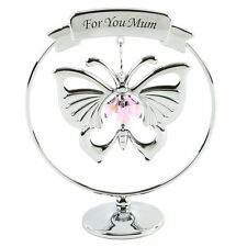 CRYSTOCRAFT FOR YOU MUM WITH PINK BUTTERFLY SWAROVSKI CRYSTAL ELEMENTS GIFT