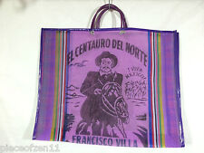 Pancho Villa Mexican Market Mercado Bag Tote Recycled Quality Mesh Purple LG NEW