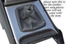 Bordado blanco se adapta a Volvo Xc90 Xc 90 Manual Cuero Gris Gear Polaina sólo