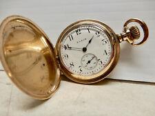 Cased Elgin Pocket Watch Runs Antique 12S Gold Filled Hunter