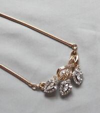Vintage 50's CROWN TRIFARI Clear Crystal Rhinestone Flower Drop Bib Necklace