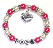 Personalised Bridesmaid Flower Girl Wedding Charm Bracelet Free Gift Bag