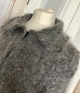 LADIES KATE MOSS/TOPSHOP CARDIGAN UK12 MADE IN ITALY 3/4 SLEEVE SOFT MOHAIR