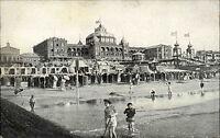 SCHEVENINGEN Briefkaart Holland ~1907 Kinder spielen im Meer Umkleide Häuser