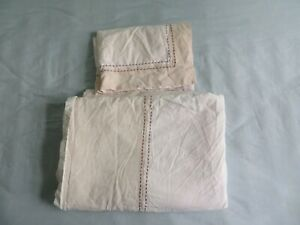 Cream  / beige Hessian look patchwork style single duvet cover