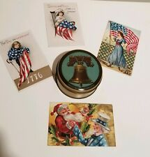 New listing Vintage Liberty Bell Candy Tin and Four PatrioticForth of July Postcards Tindeco