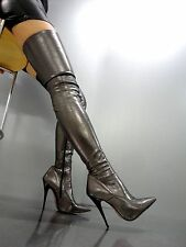 MORI OVERKNEE HIGH HOT HEELS ITALY STIEFEL BOOTS STRETCH LEATHER GREY GRIGIO 43