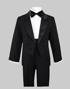 BOYS BLACK TUXEDOS SUIT SETS W/TAILS, WEDDING, RECITAL, Size: 2T to 20