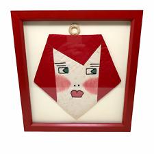 Vtg Folk Art Readhead Ginger Girl Freckles Framed Textile MCM Handmade OOAK