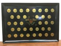 Vintage COUROC Tray With 35 Gold Coins Of The Presidents Washington to LBJ  1965