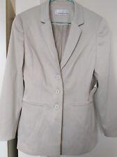 GEORGE SPYROU Pinstripe Ivory Cream Tailored Long Sleeve Lined Jacket Label Sz 8