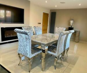 Louis Grey Marble Dining Table Chrome Legs Lucy Silver Crushed Velvet Chairs