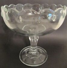 Vintage Clear Glass Fruit Candy Nut Stemmed Bowl w/ Scalloped Edge Tear Drops