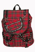 BANNED Apparel Red Tartan Check Yamy Gothic Punk Rock Rockabilly Backpack Bag