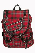 Red Tartan Check Yamy Gothic Punk Rock Rockabilly Backpack By Banned Apparel