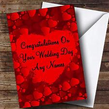 Rojo Amor Corazones romántica boda personalizada día tarjeta de saludos