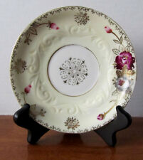 Ucagco Hand Painted Saucer with pink & gold flowers