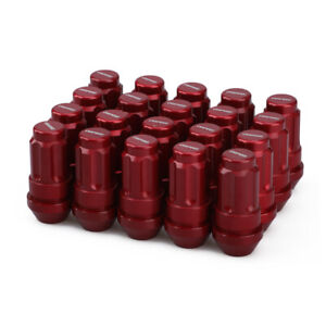 20pcs M12x1.25 Extended Lock Wheel Lug Nuts 50mm Cone Red + Key Fit for Nissan