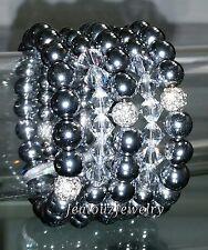 Crystal Silver Hematite Gemstone Stretch Bracelet Arm Candy Stack Maxie Dress