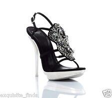 New VERSACE Crystal Embellished Platform Sandals Shoes 41 - 11