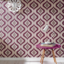 Superfresco Easy Paste the wall Trippy Retro Print Purple Wallpaper