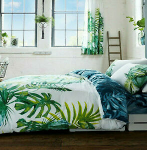 Palm Tree Tropical Quilt Cover DOUBLE Green Palm Leaf Bedding Cover Cotton Blend