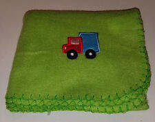 Greenbrier International Green Fleece Truck Baby Blanket Security Thin Red Blue