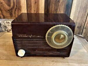 Vintage Westinghouse H-378T5 Tube Radio MCM 1950's Brown Marbled Bakelite WORKS!